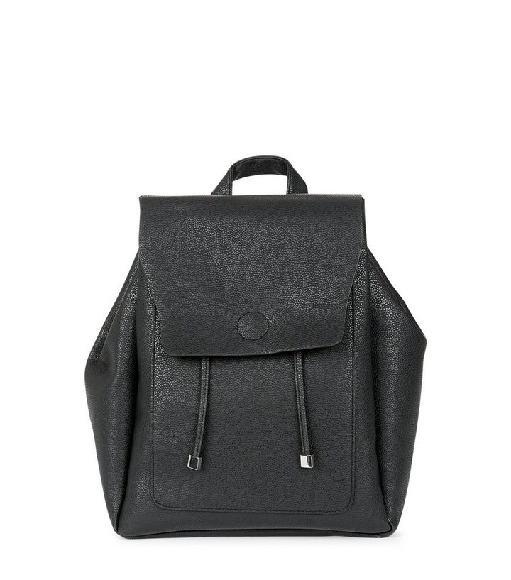 049b1dc9b Black Leather-Look Backpack | New Look