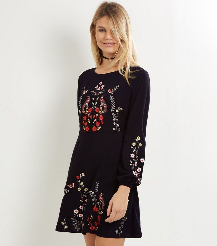 4f90c161be5 Black Embroidered Long Sleeve Skater Dress
