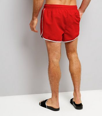 Red Contrast Trim Swim Shorts New Look