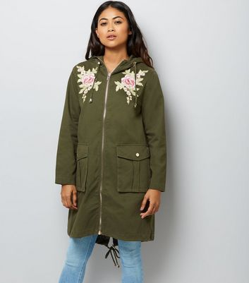 Petite Khaki Floral Embroidered Parka New Look