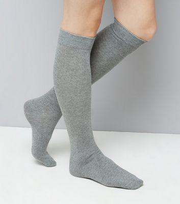 2 Pack Grey Knee High Socks New Look