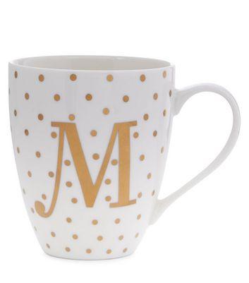 White M Initial Mug New Look
