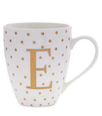 White E Initial Mug New Look