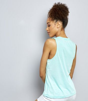 Brave Soul Mint Green Paradise Los Angeles Print Vest New Look