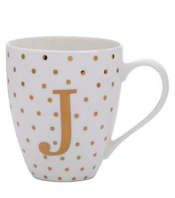 White J Initial Mug New Look