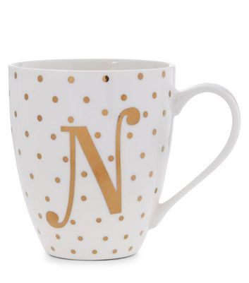 White N Initial Mug New Look
