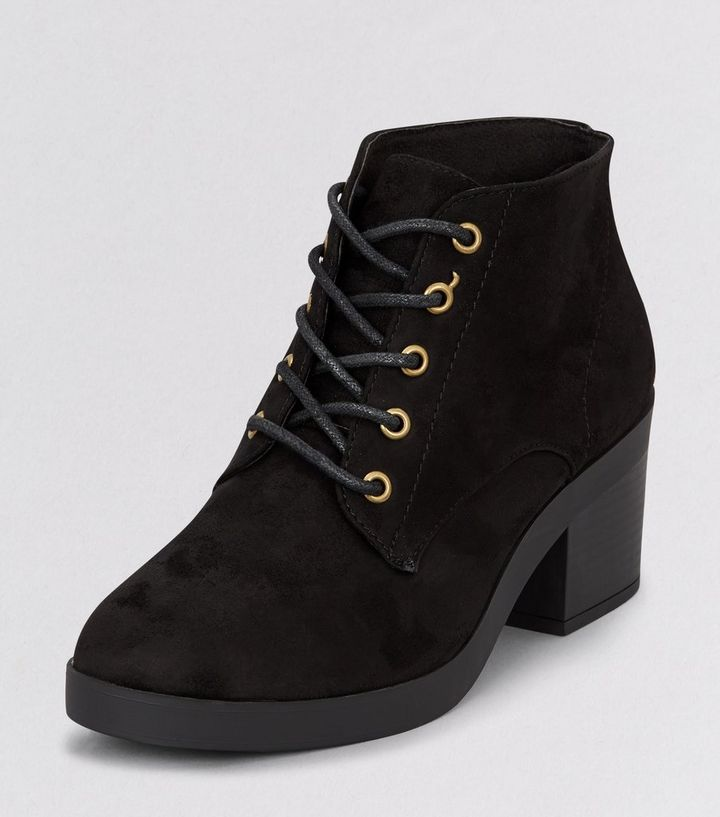 b50bd9888062 Teens Black Suedette Lace Up Block Heel Ankle Boots