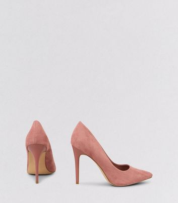 Pink Suedette Matte Heel Pointed Court Shoes New Look