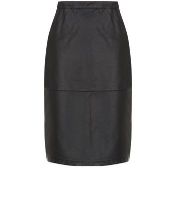 Black Leather-Look Seam Trim Pencil Midi Skirt New Look