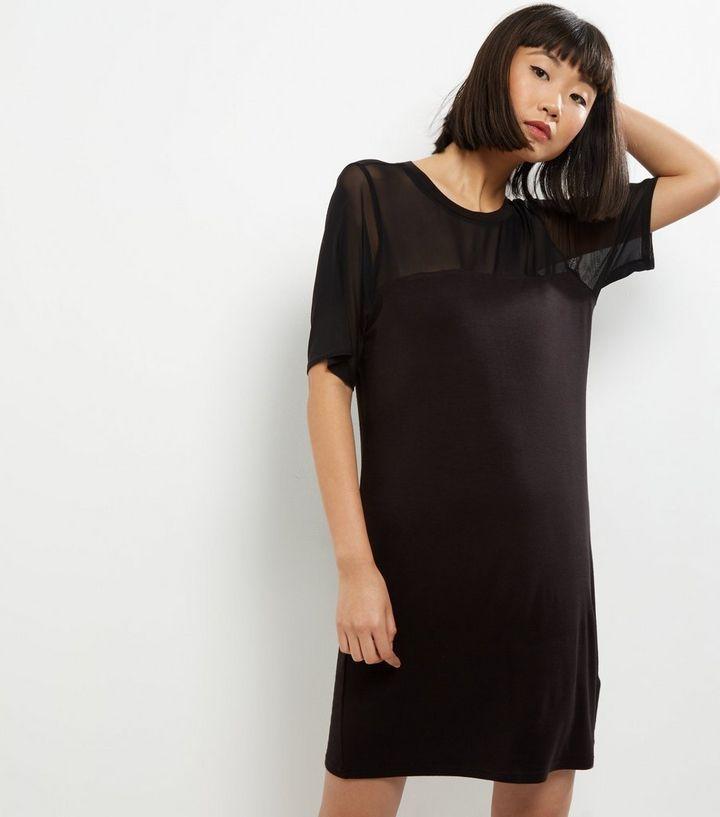 8f20b8593ed Black Mesh Panel T-Shirt Dress | New Look