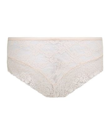 Shell Pink Lace Brazilian Briefs New Look
