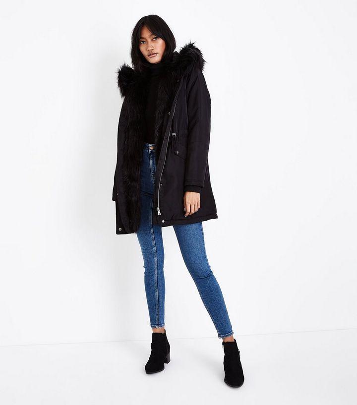b6cf7d767a12 Black Faux Fur Lined Hooded Parka