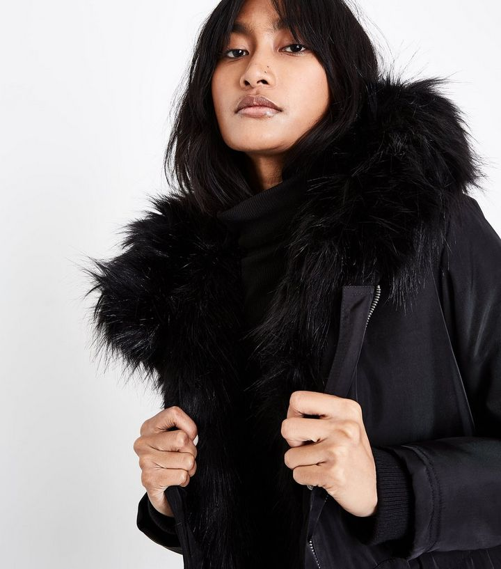 1f68fc117d03 Home · Black Faux Fur Lined Hooded Parka. ×. ×. ×. Shop the look