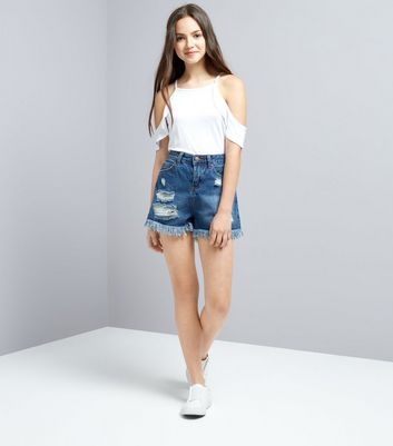 Teens Navy Ripped Denim Shorts New Look