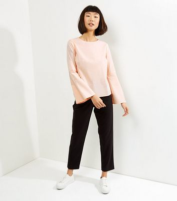 Shell Pink Flare Sleeve Top New Look