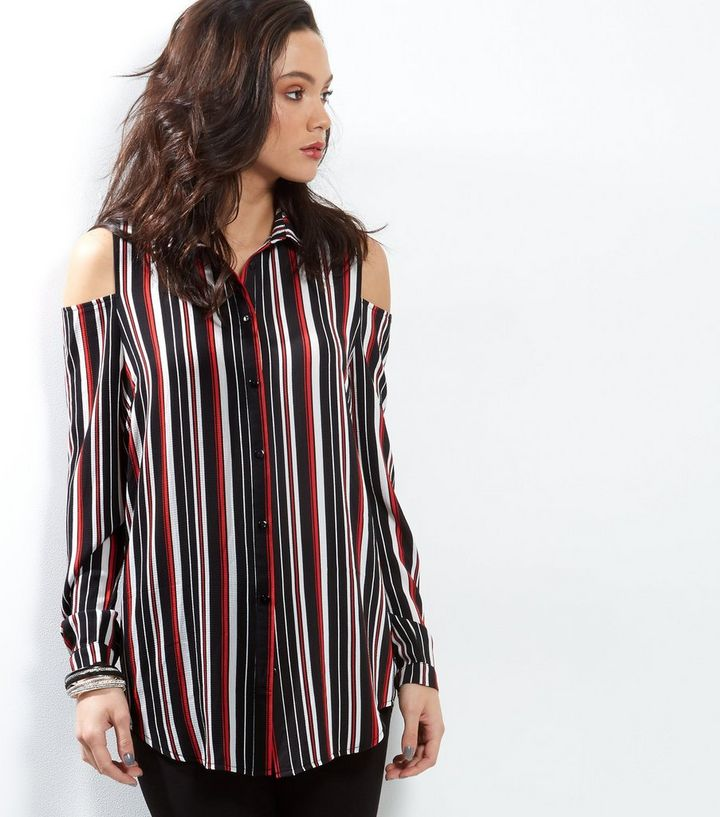 233aec6cfed3c7 Tall Red Stripe Cold Shoulder Crepe Shirt