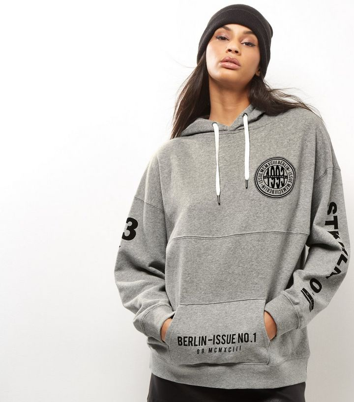 08903072 Grey 1993 International Badge Print Oversized Hoodie Add to Saved Items  Remove from Saved Items