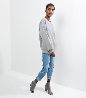 Pale Grey Balloon Sleeve Sweater New Look
