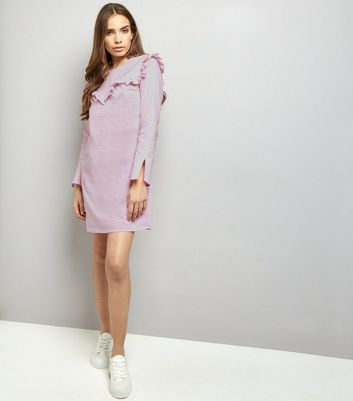 Pink Frill Trim Long Sleeve Cotton Tunic Dress New Look