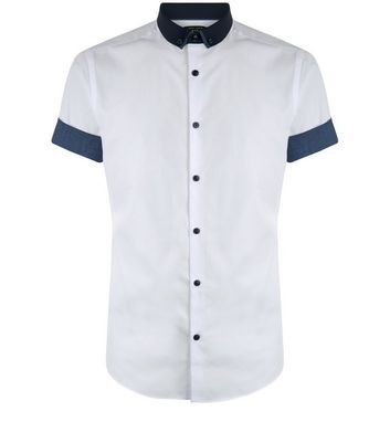 White Contrast Trim Short Sleeve Shirt New Look