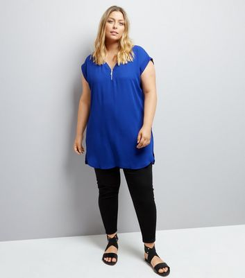 Curves Blue Zip Front Tunic New Look