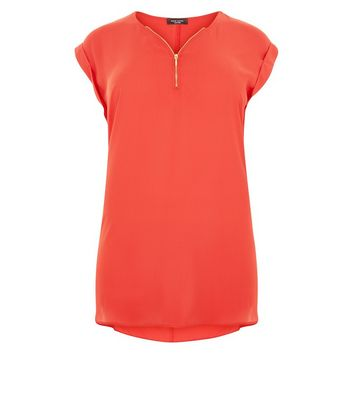 Curves Red Zip Front Tunic New Look