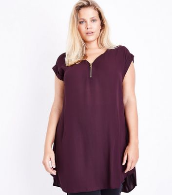 Curves Burgundy Zip Front Tunic New Look