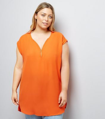 Curves Bright Orange Zip Front Tunic New Look