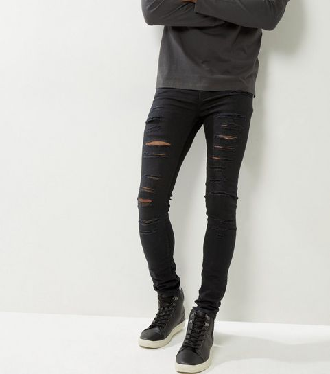Black Extreme Ripped Super Stretch Skinny Jeans