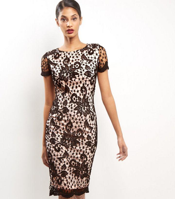 Ax paris lace frill texture bodycon midi dress black