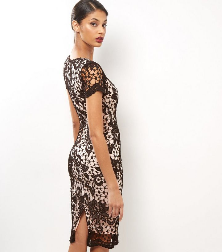 Ax Paris Black Floral Lace Bodycon Midi Dress Add To Saved Items Remove From Saved Items