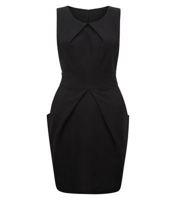 Mela Black Tie Back Tulip Dress New Look