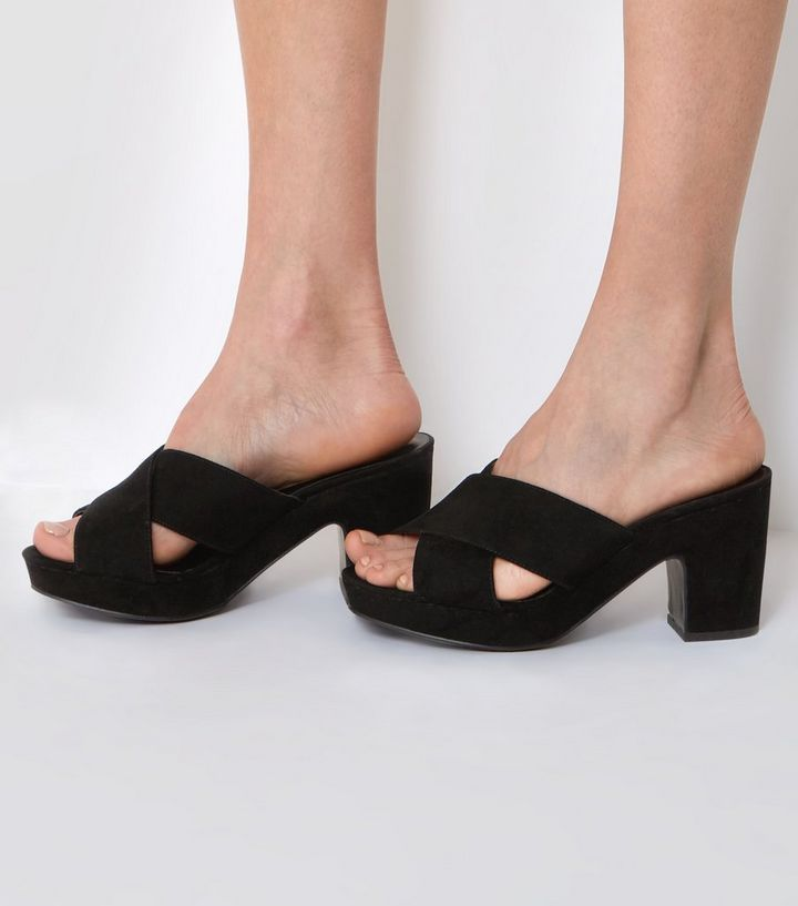 75e8f894f Wide Fit Black Cross Front Platform Mules