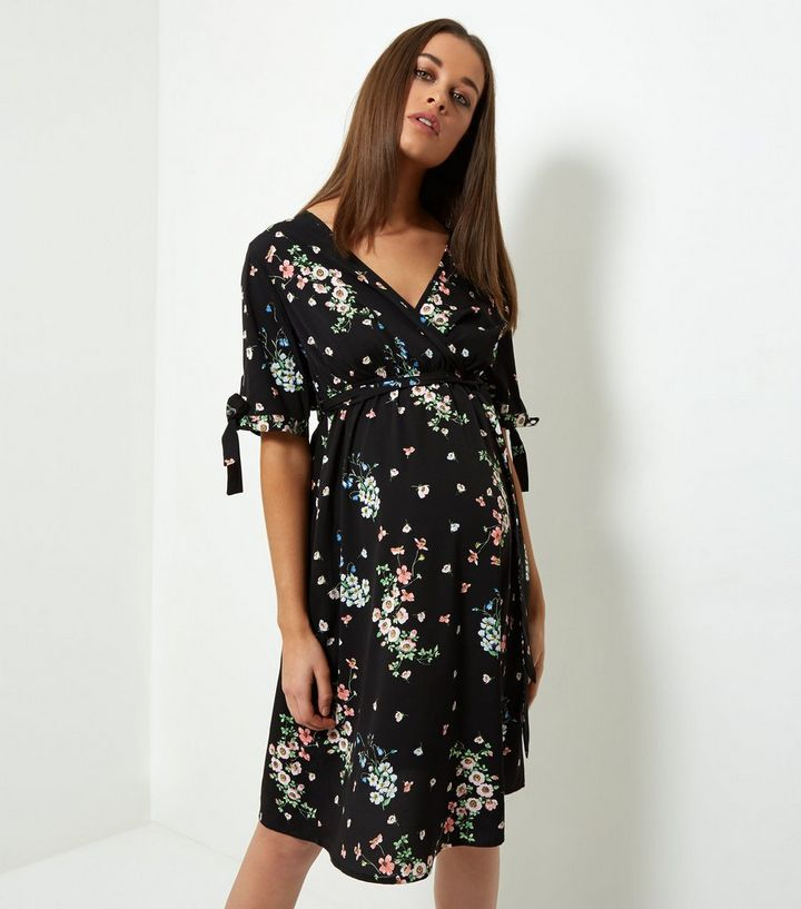 0fdbdd0248f88 Maternity Black Floral Tie Sleeve Wrap Front Dress | New Look