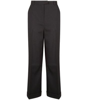 Black Herringbone Turn Up Cropped Trousers New Look