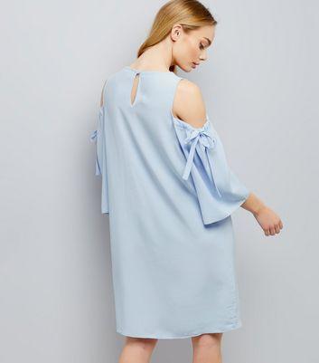 Blue Cold Shoulder Tie Sleeve Swing Dress New Look