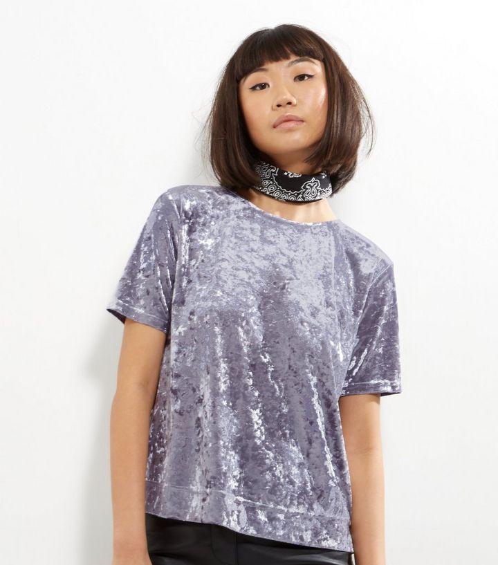 813e21cbb0 Grey Crushed Velvet T-Shirt | New Look