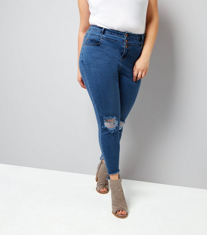 546caeb4f2e Curves Blue High Waist Ripped Skinny Jeans