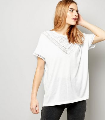 JDY White Lace Trim Short Sleeve Top New Look