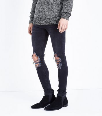 Black Ripped Super Skinny Stretch Jeans