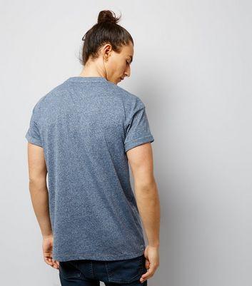 Blue Roll Sleeve T-Shirt New Look