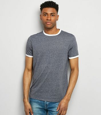 Blue Marl Ringer T-Shirt New Look