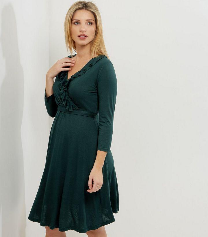 1b5fc4663148 Maternity Dark Green Frill Trim Wrap Front Midi Dress