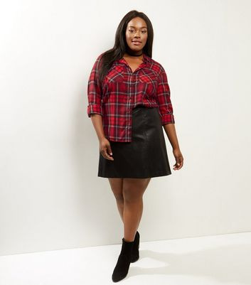 Curves Red Check Cropped Shirt New Look