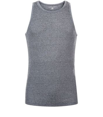 Grey Marl Ribbed Vest New Look