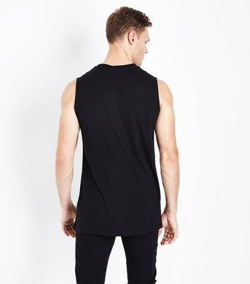 Black Dropped Armhole Vest New Look