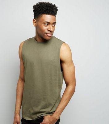 Khaki Dropped Armhole Vest New Look