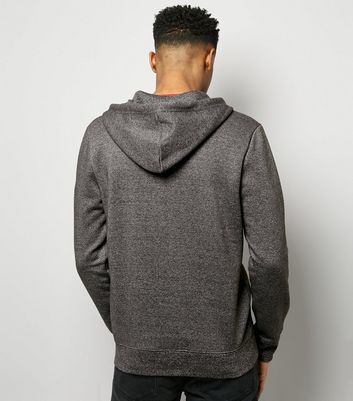 Grey Marl Zip Front Hoodie New Look