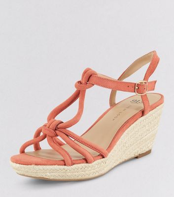 Teens Orange Knot Strap Wedges New Look