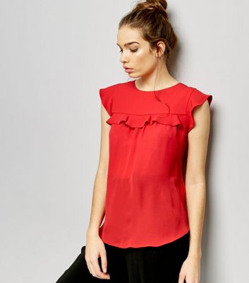 Red Frill Trim Cap Sleeve Top New Look